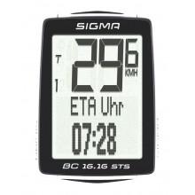 Велокомп. 4-001617 BC 16.16 STS 16 функций, беспроводной, подсветка, NFC(Андроид), черно-белый SIGMA NEW