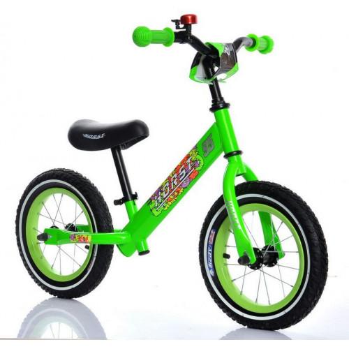 """Беговел HORST95 надувные колеса 12"""", регулируемый руль и седло, зеленый"""