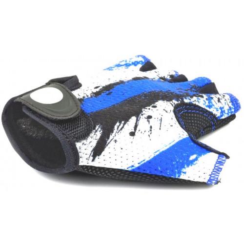 Перчатки подростк. X6 сине-белые р-р L замша/синт. кожа AUTHOR