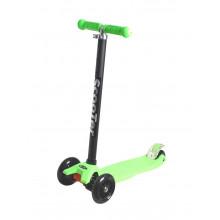 Самокат детский, регулируемый руль, светодиодные колеса 120 и 80 мм, зеленый