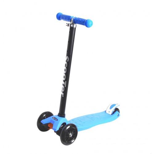 Самокат детский, регулируемый руль, светодиодные колеса 120 и 80 мм, голубой