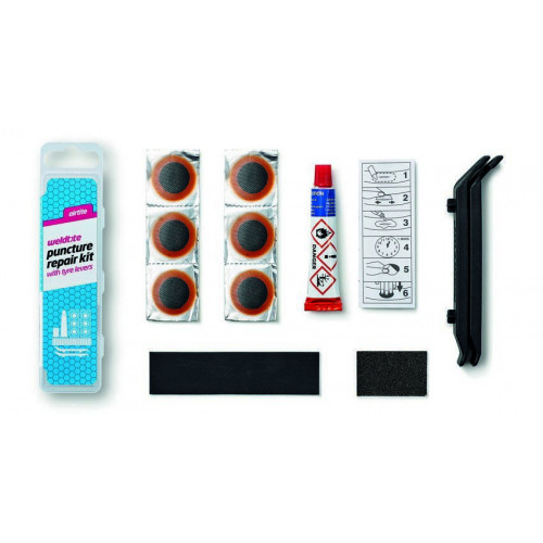 Велосипедная аптечка WELDTITE 6 суперзаплаток, клей, шкурка, 2 монтировки